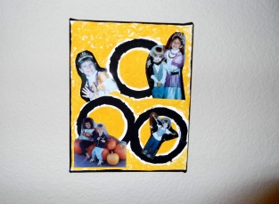 Halloween photos of my kids on a painted canvas.